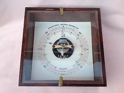 VINTAGE 1970,s OLD SCHOOL EDUCATIONAL ANEROID BAROMETER IN USED UNTESTED COND.