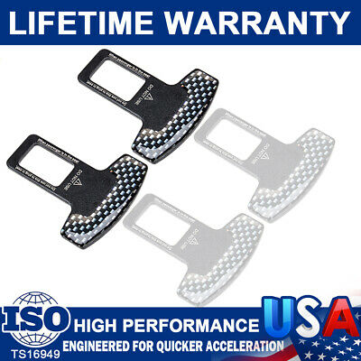 2 Car Accessories Safety Seat Belt Buckle Alarm Stopper Clip Clamp Carbon Fiber