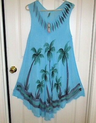 886efc0ca5 Indian India Boutique Palm Trees Sea Blue Dress Beach Cover Up L - Free  Sequins