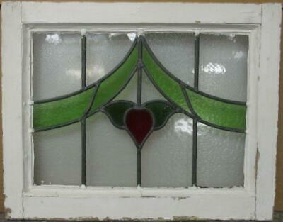 "OLD ENGLISH LEADED STAINED GLASS WINDOW Abstract Floral Design 20.75"" x 16.5"""