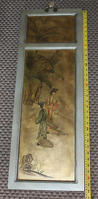 "RARE 34"" Double-sided Oriental Golf Leaves Painting 4 Panels in Original Frame"