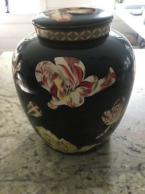 Large Maitland Smith Porcelain Ginger Jar With Lid  Flowers Tulips Phillipines