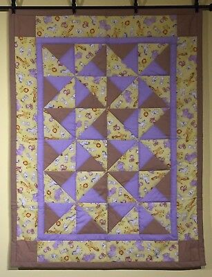 NEW Purple Yellow Pinwheels Baby Girl Quilt Animals Handmade Brown Quilt Cotton