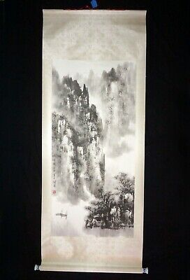 20C CHINESE SCROLL Painting Mountains & River w  Boats by Shi Liang (Col)  #11