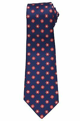 c86e640c6864 KITON Napoli Hand-Made Seven Fold Navy Blue Floral Medallion Silk Tie NEW
