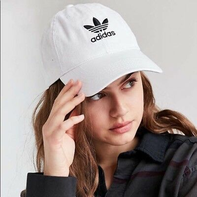 be6af069861 Women s Adidas Originals Trefoil Relaxed Strap Back Cap Dad Baseball Hat  White