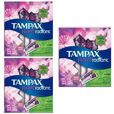 Bundle of 3 Tampax Pocket Radiant Super Unscented Compact Tampons, 16 ct. - New!
