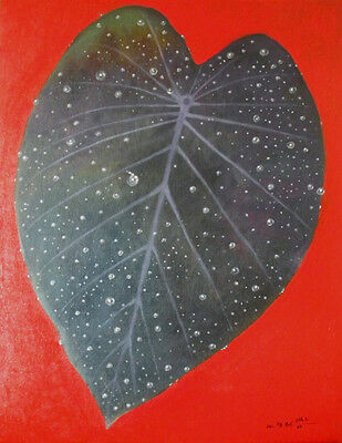 Abstract, Modern, Black Heart, Red, Original Oil Painting, Signed, Wall Art Deco