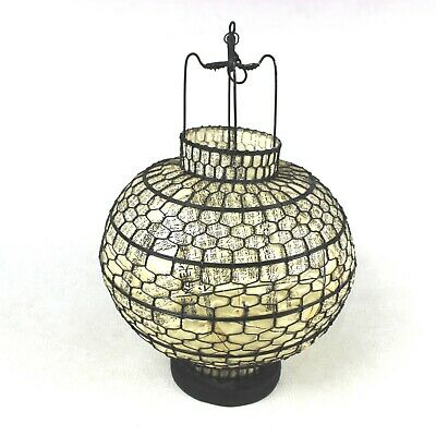 Vintage Japanese Asian Candle Lantern Wire And Rice Paper Wood Base Antique