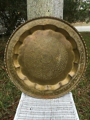 Rare Large Antique Arabic Middle East Persian Brass Tray Islamic Vintage Patina