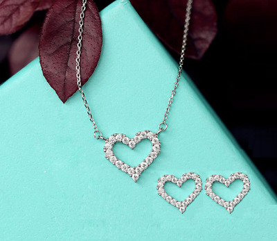 925 Sterling Silver Love Heart Pave CZ Jewelry Set: Necklace & Earring