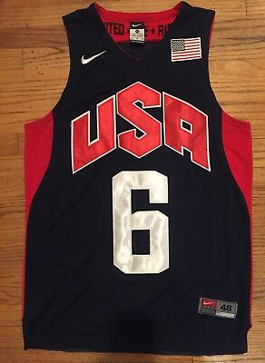 d9a36f93750 NIKE Team Lebron James Dream Team USA basketball Jersey 6 Lakers 2012 48 XL