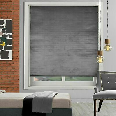 Crushed Velvet Trimmable Roller Blind Window Blind Easy Fit Thermal Roller Blind