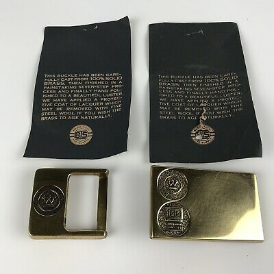 Lot of 2 Westinghouse Solid Brass Belt Buckles - 1986 Centennial + Square Buckle