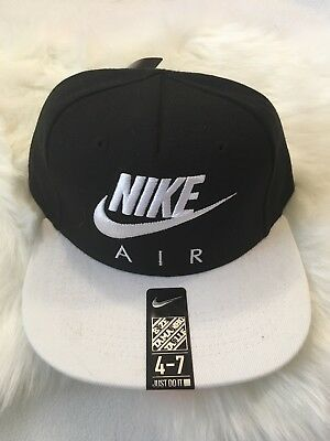 5d5572f1ca0 Nike Air Snapback 4 7 Kids Youth Adjustable Hat Cap Black White 8A2653 210