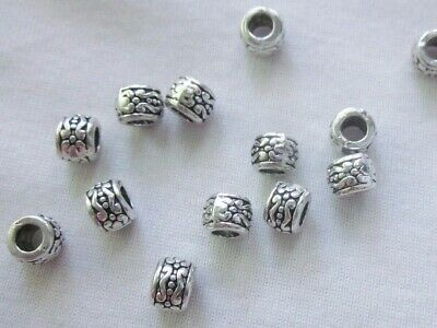 10 Antique Silver Coloured 5mm x 7mm Large Hole Spacer Beads (3mm Hole) #3319