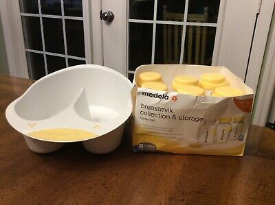 Medela Breast Milk Collection and Storage Bottles 5 Ounce 6 Count & Storage Tray