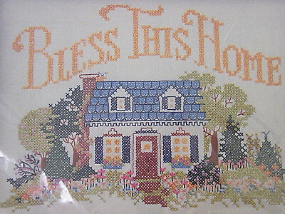 New 1983 Current Inc., Bless This Home 9X12 Printed Cross Stitch Sampler kit XX1