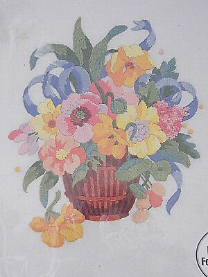 """New  Bucilla Gallery of Stitches  8x10"""" Floral Still Life Crewel flowers kit  C1"""