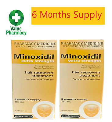 Minoxidil Extra Strength 5% 180ml 6 MONTH SUPPLY REGAINE HAIR LOSS TREATMENT