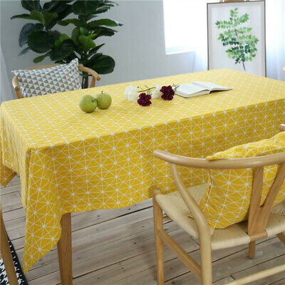 ed3f174174a9b Yellow Geometric Tablecloth Cotton Linen Rectangle Home Dinner Table Cloth  Cover