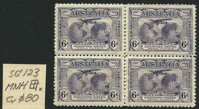 AUSTRALIA - 1931 KINGSFORD SMITH 6d 'VIOLET' SG123  Block x4  MNH [5991]