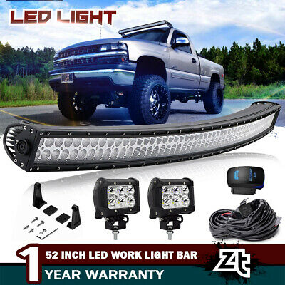 52inch LED Light Bar 700W Curved Combo + 2x 4'' Pods SUV 4WD Boat Offroad Cab 50