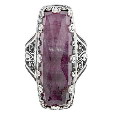 Gerochristo 2873N ~  Silver & Quartz over Ruby Doublet Rectangular Cocktail Ring
