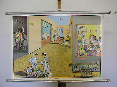Beautiful Old Schulwandkarte Hospital Doctor Anniversary 90x63 Vintage 1965