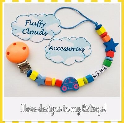 Cute Baby Personalized Wooden Bead Pacifier Soother Dummy Clip Holder~ Boy, Girl