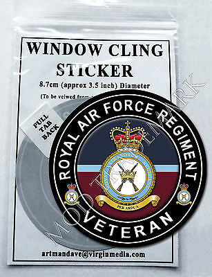 ROYAL AIR FORCE REGIMENT,  VETERAN WINDOW CLING STICKER  8.7cm Diameter