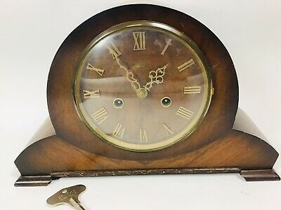 Antique Wood SMITHS ENFIELD Mantel Clock With Chimes NO Pendulum Only Key