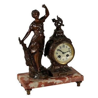 Table Clock Marble Base and Statue Italy Early 20th Century