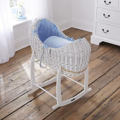 Brand new Clair de lune white noah pod in blue dimple with white rocking stand