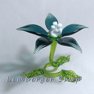 Self-standig flower handmade of COLORED GLASS 7 cm width NOT PAINTED Ornament