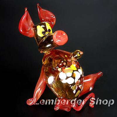 Figurine SEXY pig handmade of COLORED GLASS 7 cm height NOT PAINTED Ornament