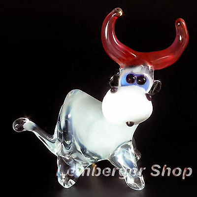 Figurine cow handmade of COLORED GLASS ! 6 cm lenght NOT PAINTED Ornament Gift