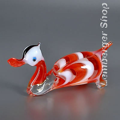 Figurine duck handmade of COLORED GLASS ! 10 cm lenght NOT PAINTED Ornament Gift
