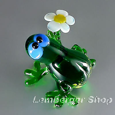 Figurine frog handmade of COLORED GLASS ! 5 cm lenght NOT PAINTED Ornament Gift