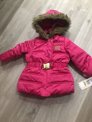 Juicy Couture Pink Buckle Puffer Coat With Faux Fur Trimmed Hood 12 Months BNWT