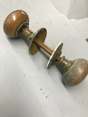 Old Copper And Brass Door Knob Set Push Pull Period Reclaimed Antique Metal