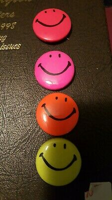 4 Vintage Smiley Face Traffic Stoppers  1970's USA Smile Happy Button Pins
