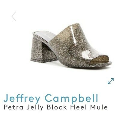 9ae276589088 NEW Jeffrey Campbell Petra Black Silver Glitter Jelly Mules Sandals Size 7M