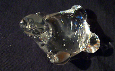 Crystal Art Glass Turtle Paperweightclear Glass  Controlled Bubble Center