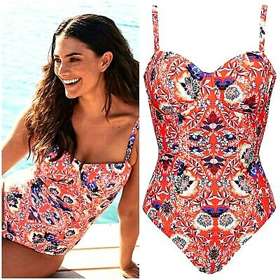 50f8b14980be2a Figleaves Size 34F Tummy Control Control Red Salma Swimsuit / Costume £60 @  Next
