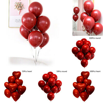 50/100 Pcs Red Heart Round Birthday Kid Wedding Party Decorations Air Balloon