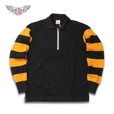 non stock vintage motorcycle jersey gold/yellow and black stripes1950s small
