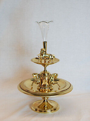 19th Century Brass Horse Racing Motif Centrepiece with Fluted Glass Epergne