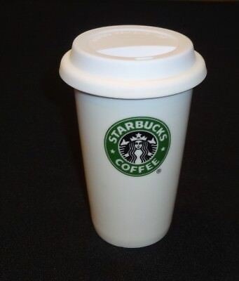 2010 Starbucks Coffee Tea Tumbler Travel Cup Mug Ceramic Porcelain With Lid