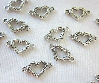 20 Antique Silver Heart Connectors 15mmx8mm Double Sided #906 Jewellery Findings